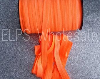 5/8 Neon Orange Fold Over Elastic- 5 Yards- FOE- Wholesale