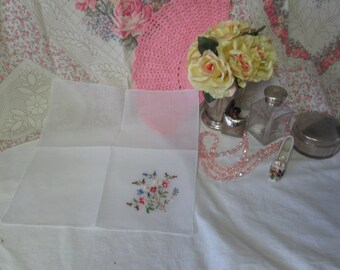 Delicate Cotton Machine Embroidered Floral Handkerchief hankie