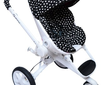 Custom covers for Quinny Moodd! Seat liner, hood with bow, shoulder pads, handle bar covers! 4 pieces set ! Black polka dot!