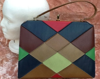 Handbag Pocketbook Faux Leather Patch Patchwork Purse