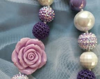 Purple Sparkly Flower Chunky Necklace