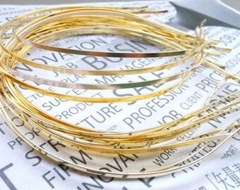 20pcs 3mm Metal Headbands gold color with bent end