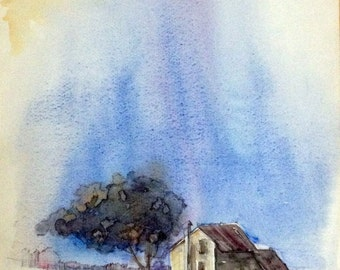House Watercolor, House Painting, Original Watercolor Painting, Custom Painting, Original Art, Water Color Art, Living Room Painting