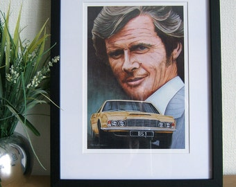 The Persuaders, Roger Moore, Aston Martin DBS painting, A4 print