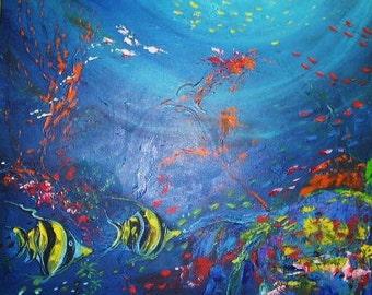 Tropical Series - Angels on the Reef Original Liza Black Art
