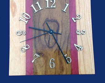 Exotic Hardwood Clock made from Maple, Purple Heart and Sedua