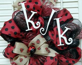 Ko Jo Kai Ladybug Wreath Monogram Ladybug Burlap Ladybug Social Club Wreath Sorority Wreath Red Black Polka Dot Dorm Sorority Decor Ladybugs