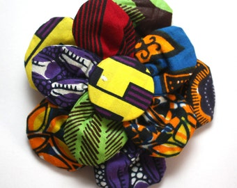 Floral Brooch, Ankara Flower Print Brooch, Wedding Favours, African print hair clip, hair accessory, Patchwork Multi-use Accessory