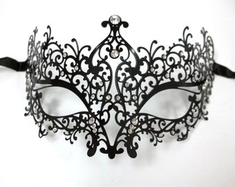 Poison Ivy Masquerade Mardi Gras Metal Filigree Mask in Black with Sparkling Clear Crystals