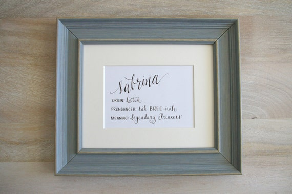 Custom hand calligraphy baby name meaning art nursery decor