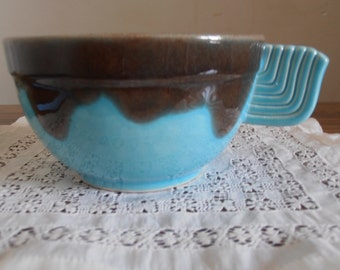 A large French vintage café au lait stoneware cup, turquoise and brown, 1930's