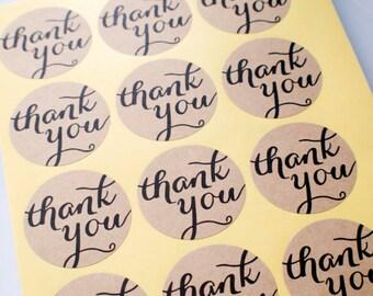 Round Thank you Sticker - Brown Kraft Paper Seal