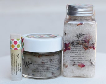 Bath and Body Care Set, Body scrub set, Bath salt set, Lip balm set, Thank You gift, Natural bath set, Spa and body set