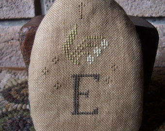 Primitive Cross Stitch Spring & Easter E is for Egg Pin Keep Egg