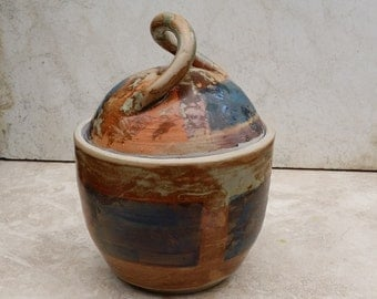 OOAK Lidded Jar With Twisted Handle