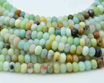 15.5 Inch Full Strand  Amazonite  Rondelle  Faceted 8MM X 5.5MM   Bead
