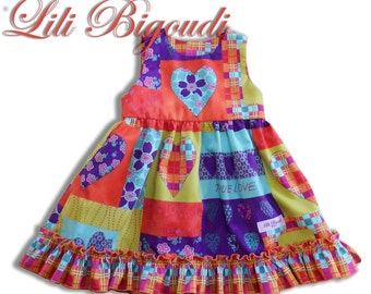 Dress child form chasuble, shirred flying, printed patchwork, matching lining
