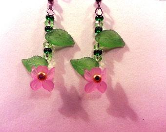 Dark Pink Iris Earrings