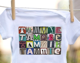 Personalized baby bodysuit featuring the name TAMMIE showcased in photos of letters from actual signs; Baby onesie; Baby gift; Baby shower