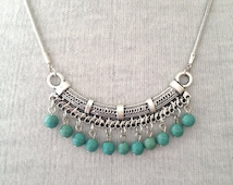 Silver Turquoise Necklace Boho  Jewelry UK boho necklace