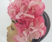 VINTAGE Ladies Hat  1950's  Pinks Tulles pearl seed heads perfect condition one size