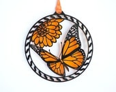 Butterfly ornament Orange and black acrylic Monarch butterfly decoration