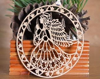 Angel ornament Intricately Cut decoration wood angel ornament