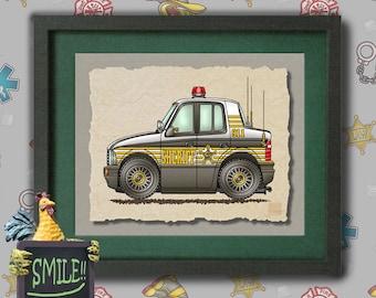 Kid Police Car Art cute sheriff car Whimsical vehicle  print adds to kids room emergency vehicles as 8x10 or 13x19 wall decor