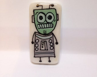 Hand Painted Peacebot #28  Robot  Robot Jewelry  Peace Charm  Robot Key Chain  Hand Painted Robot