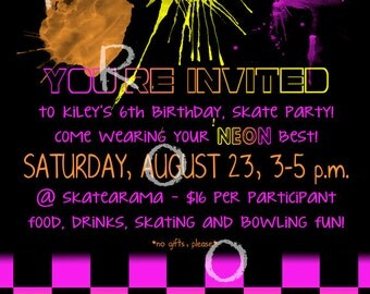 CUSTOMIZABLE Girl's Neon Skate Party Birthday Invitation