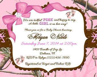 tickled pink camo baby shower invitation printable digital