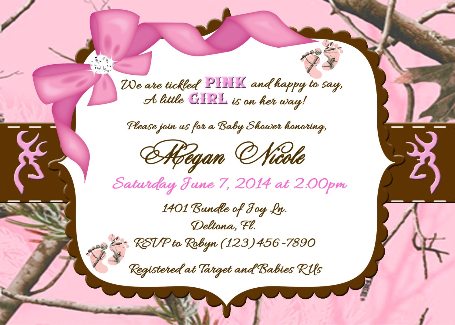 Tickled Pink Camo Baby Shower Invitation.......Printable