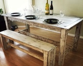 Shabby Chic Table with Bench