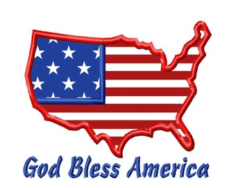 Independence Day God Bless America Applique Machine Embroidery DESIGN NO. 175