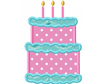 3rd Birthday Cake Applique Machine Embroidery DESIGN NO. 303