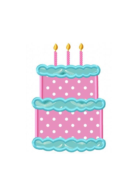 Rd birthday cake applique machine embroidery design no