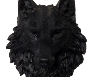 Black Wolf Head Mount Wall Statue. Faux Taxidermy Fake Wolf Head.