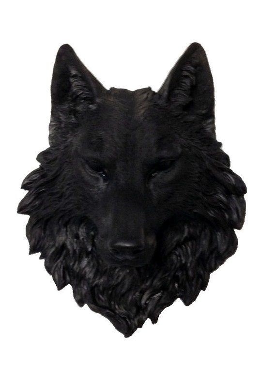t te de loup noir monter mur statue taxidermie faux faux loup. Black Bedroom Furniture Sets. Home Design Ideas
