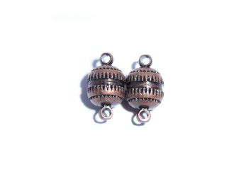 Lot 0f 2 - Copper Tone Magnetic Magnet Bead ball Clasp for Bracelet or Necklace (10 mm) CL1C