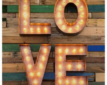 "18"" Marquee LOVE sign...Custom steel love sign, Light up love sign, Marquee sign, letters with lights"