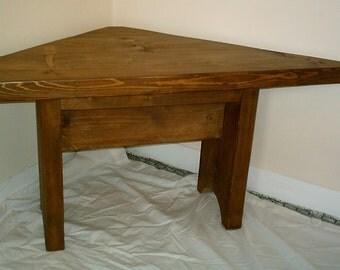 Handmade Solid Wood Rustic Corner Table 044