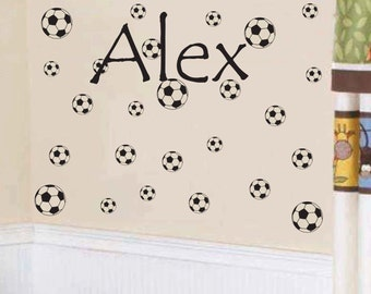 FREE SHIPPING Alex 25 Soccerballs Room Wall Decal - Nursery Wall Decal - Teen Name Wall Decals - Personalized Wall Decals