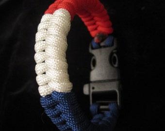 France Flag Paracord Bracelet With Whistle France Flag