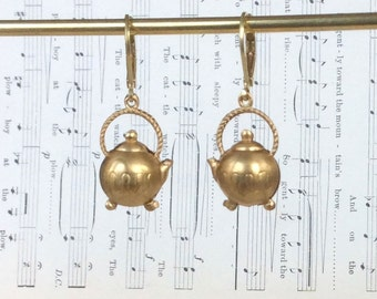 Brass Teapot Charm Earrings