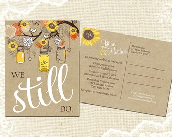 Sunflower Vow Renewal Postcard - We Still Do -  Fall Autumn Woodland Mason Jar Vow Renewal Invitation - Yellow Orange Kraft - 5022 PRINTABLE
