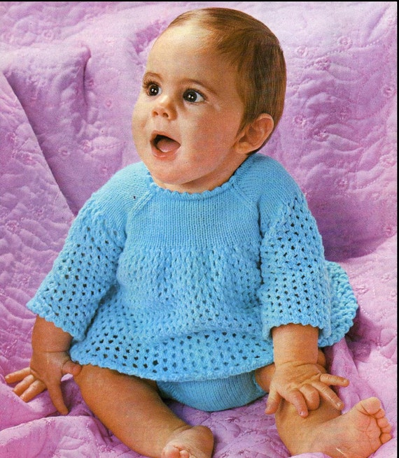 Knitting Pattern Baby Dress/Angel Top and Panties/soakers