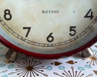 1930's Old Vintage Blessing Clock - Made in West Germany - Art Deco - For Decor Only - Office Supplies & Decoration - Deep Maroon Colorful
