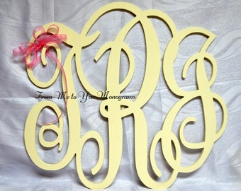 "33"" x 36"" Large Interlocking Script Wood Wall Monogram"