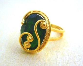 Emerald ring -Gold filled 14K gemstone Ring, filigree gold ring, gold jewelry green stone