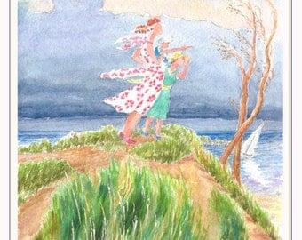 Storm Watchers - Fine Art Giclee Print of Original Watercolor Painting